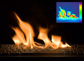 Burning Keyboard with Thermal Image — Stock Photo
