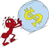 Sisyphus red ant — Stock Vector