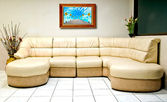 The Interior modern room of white sofa with wooden frame — Stock Photo