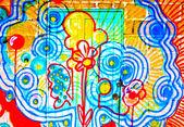 The Colorful graffiti of door — Stock Photo
