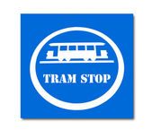 The Sign of tram stop isolated on white background — Stock Photo