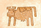 The Iron pattern line of cow on cement floor — Stock Photo