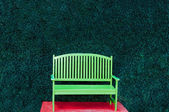 The Green bench with red heart background — Foto Stock