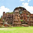 The Ruin of Buddha status and temple of wat mahathat in ayuttha — Stock Photo #10814878