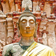 The Ruin of Buddha status and temple of wat mahathat in ayuttha — Stock Photo #10818478