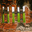 The Ruin of Buddha status and temple of wat mahathat in ayuttha — Stock Photo #10818639