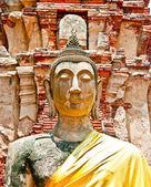 Die ruine des buddha-status und dem tempel von wat mahathat in ayuttha — Stockfoto