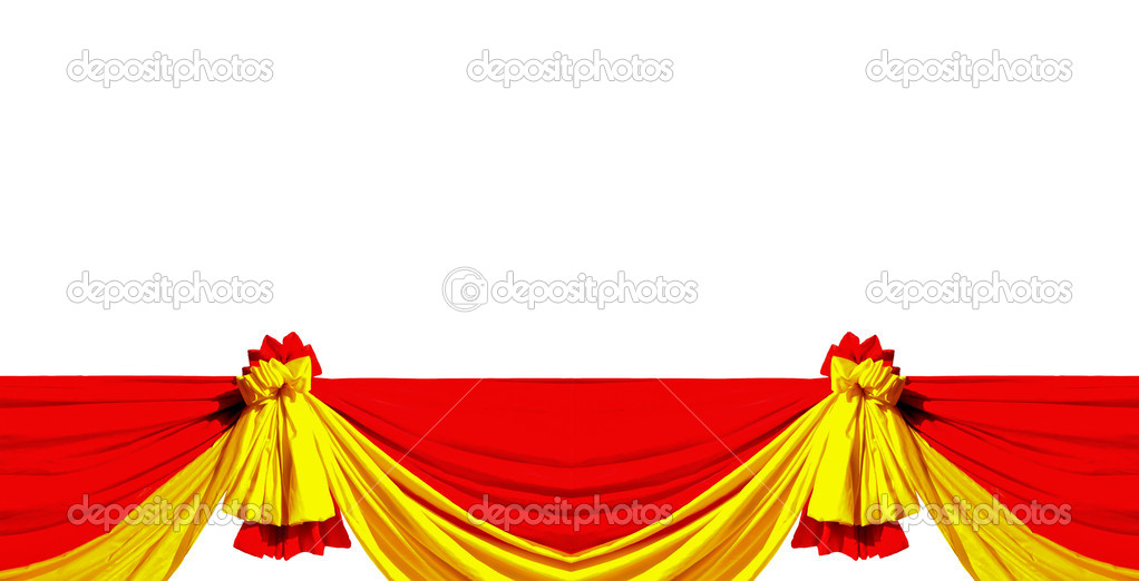 The Red and yellow ribbon isolated on white background  Lizenzfreies Foto #10814182
