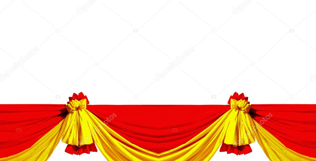 The Red and yellow ribbon isolated on white background  Foto de Stock   #10814182