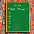 Royalty-Free Stock Photo: The Green blackboard of menu coffee on brick wall background