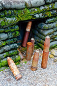 The Old rusted ammunition of artillery — Stock Photo