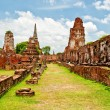 The Ruin of Buddha status and temple of wat mahathat in ayuttha — Stock Photo #10842429