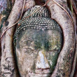 The Ruin of Buddha status and temple of wat mahathat  in ayuttha - Photo