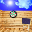 The Perspective view of old wood floor with dartboard — Stockfoto