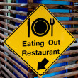 The Yellow plate post of eating out restaurant — Stock Photo