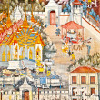 The Thai art of religion on wall of temple - Zdjcie stockowe