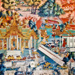 The Art thai painting on wall in temple — Stock Photo