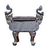 The Old steel dragon Incense burner isolated on white background — Stock Photo
