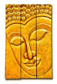 The Carving wood of buddha status isolated on white background — Stock Photo