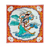 The Colorful of old painting on wall in joss house — Stock Photo