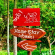 Stock Photo: Guide post of warning elephant and home stay