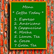Stock Photo: The Green blackboard of menu coffee on brick wall background