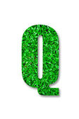 The Green grass alphabet of q isolated on white background — Stock Photo
