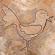 The Iron pattern line of bird on cement floor — Stock Photo