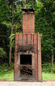 The Brick fireplace of burner garbage — Foto Stock