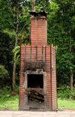 The Brick fireplace of burner garbage — Stock Photo