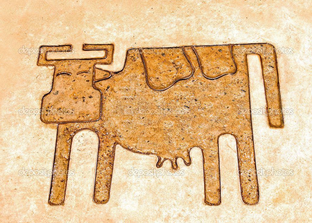 The Iron pattern line of cow on cement floor — Stock Photo #11489444