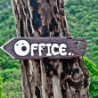 The Sign old wood of way to office — Foto de Stock