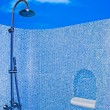The Modern shower head in restroom isolated on blue sky backgrou — Stock Photo