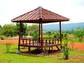 The Wooden pavilion on mountain background — Stock Photo