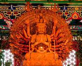 "The Golden Bodhisattva ""Guan Yin"" with thousand hands statue — Foto de Stock"