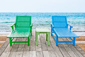 The Color of long chair on beach — Stockfoto