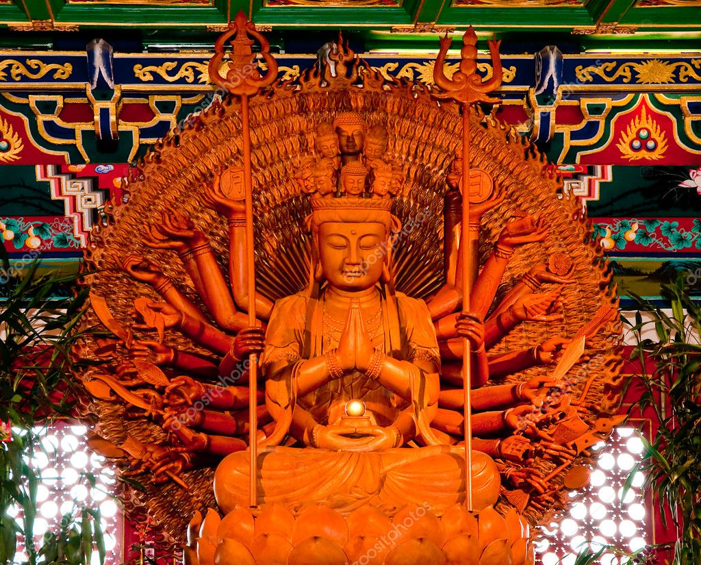 The Golden Bodhisattva &quot;Guan Yin&quot; with thousand hands statue  Stock Photo #11503326