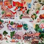 BANGKOK ,THAILAND - MAY 6 : Ancient painting on monastery wall — Stock Photo