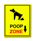 The Sign of dog poop zone isolated on white background — Stock Photo