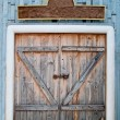 The Old wooden door in farm — Stock Photo