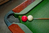 The Two balls on snooker table — Stock Photo