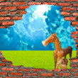 Stock Photo: Wooden horse with ruin brickwall on blue background
