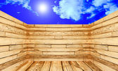 The 3D view of room made of wood on blue sky with sunshine backg — Stock Photo