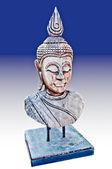 A escultura da cabeça de estado de buda feito de madeira isolada em whit — Foto Stock