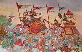 泰国艺术在泰国寺庙的墙上的画 — 图库照片