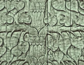 The Carving wood of pattern leaf poh tree — Stock Photo