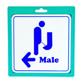The Aluminum plate of guide post to toilet for men — Stock Photo