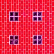 Stock Photo: Glass block on red brick wall