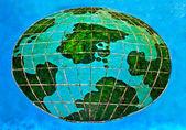 The Ceramic of whole world on blue background — Stock Photo