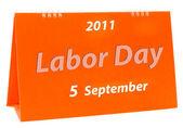 労働者の日の白い背景で隔離のカレンダー — ストック写真